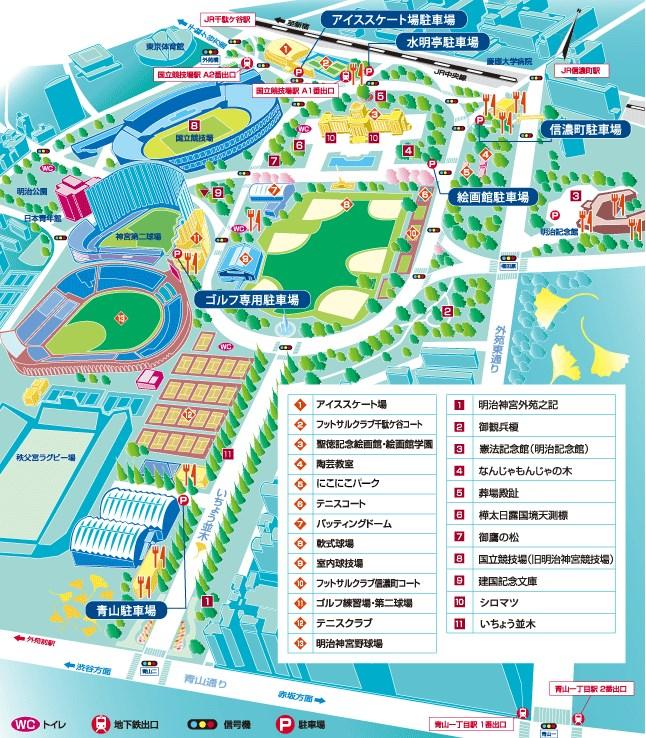 神宮外苑駐車場map