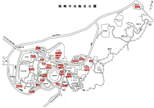 岡崎中央総合公園の専用駐車場